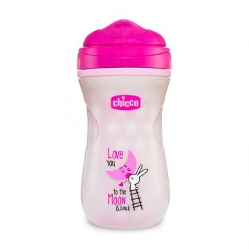 Hrnček Chicco Shiny termo floureskujúci s tvrdým náustkom 266 ml, ružový 14m+