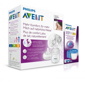 Avent odsávačka mater.mlieka Natural+5ks VIA 180ml