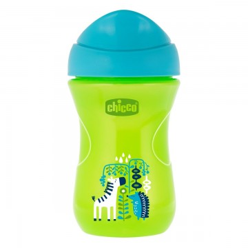 Hrnček Chicco Jednoduchý s tvrdým náustkom 266 ml, zelený, zebra 12m+