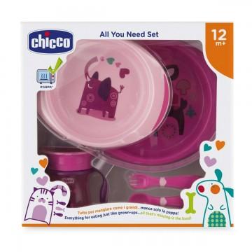 Jedálenský set - taniere, príbor, pohárik, 12m+ - ružový