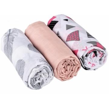 Baby Nellys mušelínové plienky 3ks Lux - Tvary, pierka, 70 x 80 cm, sivá/ružová/biela
