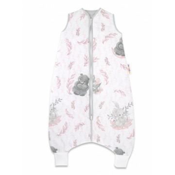 Baby Nellys, Spací vak s nohavičkami LULU natural, 90 cm - růžová