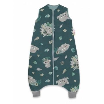 Baby Nellys, Spací vak s nohavičkami Tropical Coala, 90 cm - zelená, biela