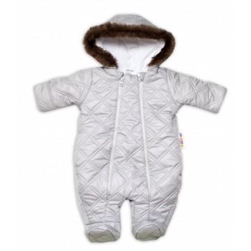 Kombinézka s kapucňu a kožešinou Lux Baby Nellys ®prošívaná - sv. sivá