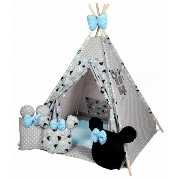 Baby Nellys Stan pro děti týpí s velkou výbavou, Minnie, šedá, čierna, modrá