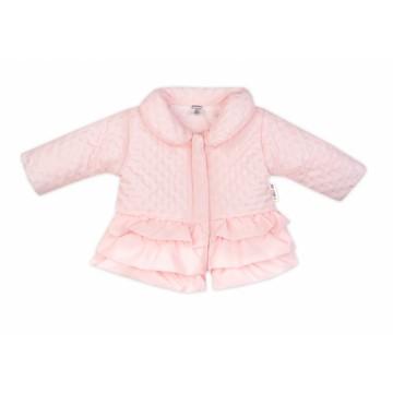Baby Nellys Dojčenská prechodová bundička s volánikmi, svetlo ružová