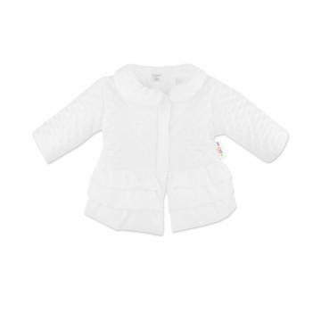 Baby Nellys Dojčenská prechodová bundička s volánikmi, biela