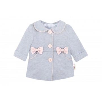 Baby Nellys Kojenecký bavlnený kabátik s mašličkami, sivý, veľ.74