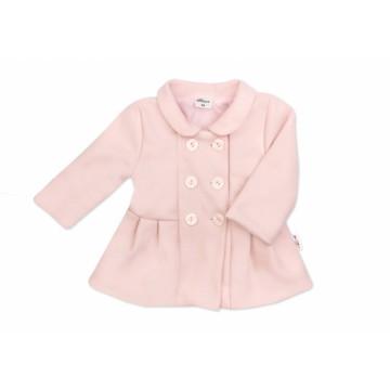 Baby Nellys Detský flaušový kabátik, púdrovo ružový, veľ. 86