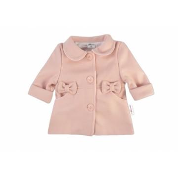 Baby Nellys Kojenecký flaušový kabátik, púdrovo ružový, veľ. 74