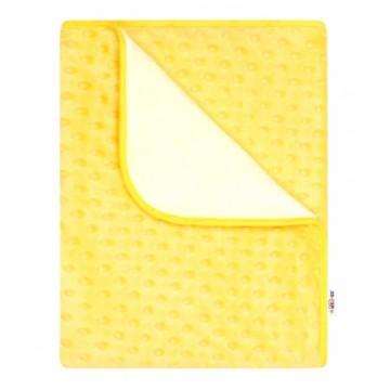 Baby Nellys Detská luxusná obojstranná deka s Minky 80x90 cm, žltá/biela
