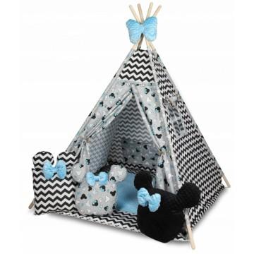 Baby Nellys Stan pro děti týpí s velkou výbavou, ZigZag, šedá, čierna, modrá
