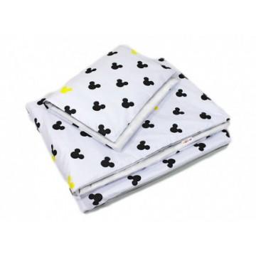 Baby Nellys 2-dielne obliečky Mickey, bavlnené - biela , žltá