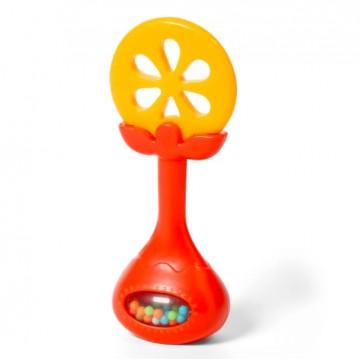 BABYONO Edukačná hryzačka s hrkálkou - pomaranč