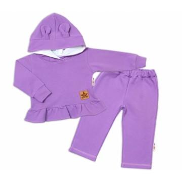BABY NELLYS Detská tepláková súprava s kapucňou a uškami - lila, vel. 92