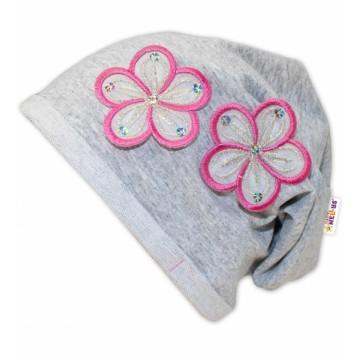 Bavlnená čiapočka Kvetiny Baby Nellys ® - sv. sivá