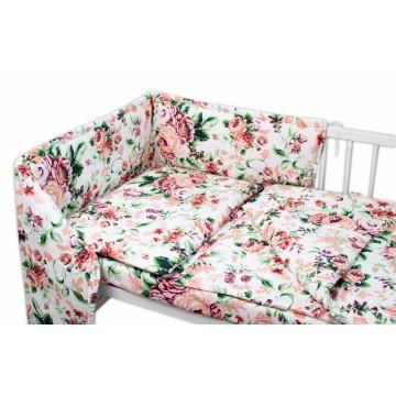 Baby Nellys Mantinel s obliečkami - Ruže, biely