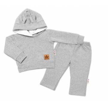 BABY NELLYS Detská tepláková súprava s kapucňou a uškami, sivá, veľ. 98