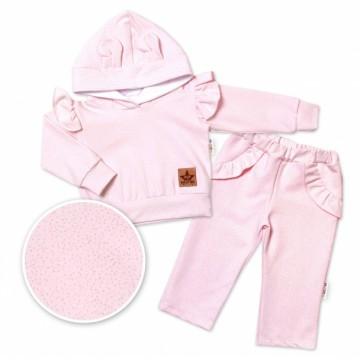 BABY NELLYS Detská tepláková súprava s kapucňou, volániky a uškami - ružová, vel. 98