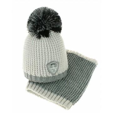 BABY NELLYS Jesenná/zimná čiapka s komínom - Bambulka - sv. sivá/sivá