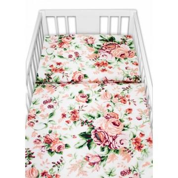 Baby Nellys 2 - dielne bavlnené obliečky - Ruže, biela, veľ. 135x100