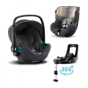 Set autosedačka Baby-Safe 3 i-Size+Báze Flex Base Isense+Autosedačka Dualfix iSense, Midnight Grey
