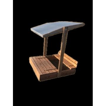 Drevené pieskovisko s lavičkami impreg.so strechou