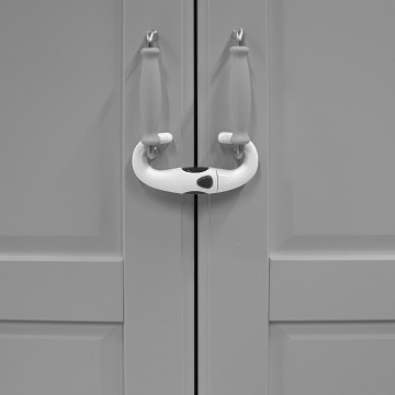 Zámok na úchyty skriniek U, white/grey