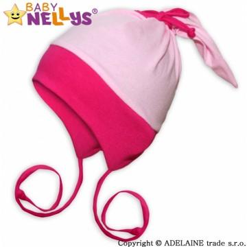 Bavlnená čiapočka Baby Nellys ® - Zajačik Duo - ružová
