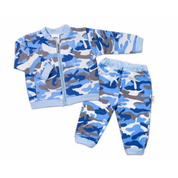 BABY NELLYS Dojčenská tepláková súprava army, modrá, veľ. 68