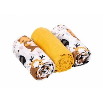 Baby Nellys mušelínové plienky 3ks Lux - Forest, 70 x 80 cm, žltá/biela