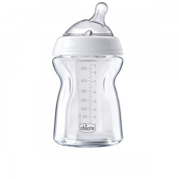 CHICCO Fľaša dojčenská sklo Natural Feeling 250 ml, neutral 2m+