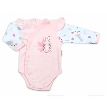 Baby Nellys Dojčenské body, dl. rukáv, zap.bokem s volánikmi Cute Bunny, ružové