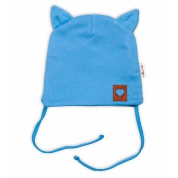 Baby Nellys Bavlnená dvojvrstvová čiapka s uškami na zaväzov., FOX - modrá, veľ. 44-46 cm