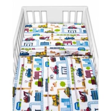 Baby Nellys 2 - dielne bavlnené obliečky - Stavebné stroje, biela, veľ. 135 x 100 cm